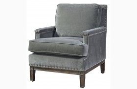 Prescott Gray Finish Velvet Chair