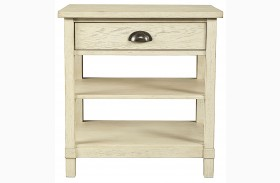 Driftwood Park Vanilla Oak Finish Bedside Table
