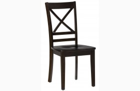 Simplicity Espresso Finish X Back Chair Set of 2