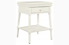 Smiling Hill Marshmallow Finish Bedside Table