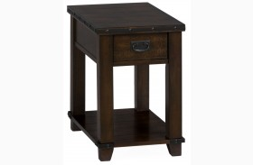 Cassidy Distressed Brown Finish Chairside Table