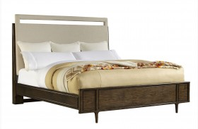 Santa Clara Burnished Walnut Finish Upholstered Bed