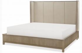 High Line Greige Upholstered Shelter Bed