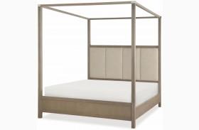 High Line Greige Upholstered Poster Bed