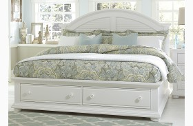Summer House Oyster White Panel Storage Bed