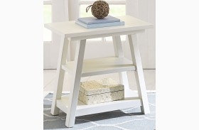 Summer House Oyster White Finish Chair Side Table