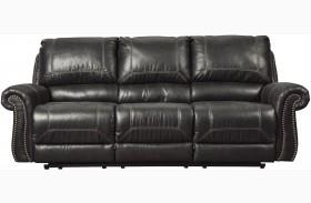 Milhaven Black Finish Reclining Sofa