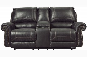 Milhaven Black Finish Double Reclining Console Loveseat