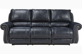 Milhaven Navy Finish Reclining Sofa