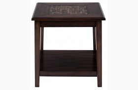 Baroque Brown Finish Mosaic Tile Inlay End Table