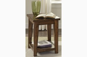 Lancaster II Antique Brown Finish Chair Side Table