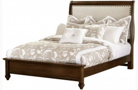 French Market French Cherry Upholstered Panel Bed