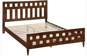 LA Walnut Panel Bed