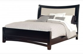 Memphis Black Upholstered Sleigh Bed