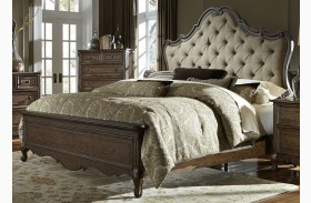 Lorraine Antique Oak Finish Upholstered Panel Bed