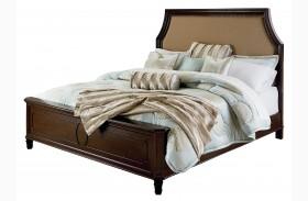 Windsor Bourbon Brown Upholstered Panel Bed