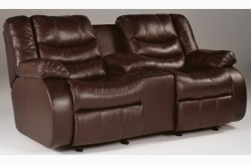 Revolution Burgundy Double Reclining Console Loveseat