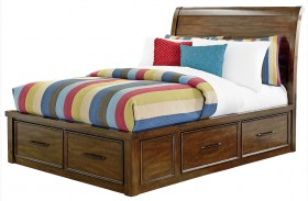 Cameron Youth Warm Tobacco Brown Youth Sleigh Storage Bed