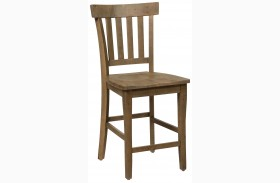 Slater Mill Light Brown Finish Slat Back Stool Set of 2