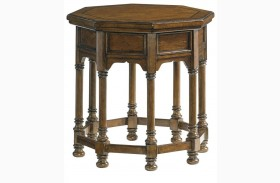 Coventry Hills Autumn Brown Finish Westport Octagonal End Table