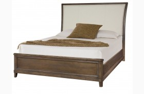 Park Studio Weathered Taupe Finish Upholstered Sleigh Bed