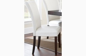 Berkley Dark Espresso Cherry Finish White Parsons Chair Set of 2