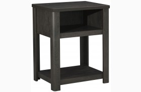 Javarin Black Finish Night Table