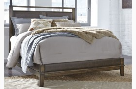 Zilmar Brown Finish Upholstered Panel Bed