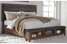 Ralene Dark Brown Finish Upholstered Storage Bed