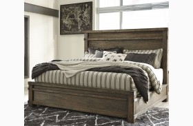 Leystone Dark Brown Finish Panel Bed