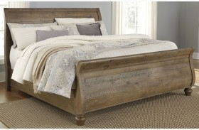 Trishley Light Brown Sleigh Bed