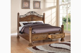 Barclay Rustic Acacia Poster Storage Bed