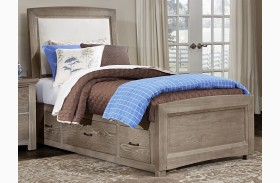 Transitions Driftwood Oak Youth Two Side Storage Upholstered Panel Bed