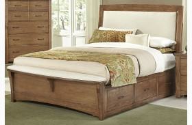 Transitions Dark Oak One Side Storage Upholstered Panel Bed