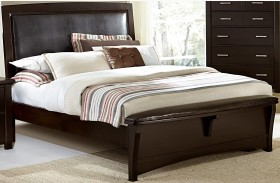 Transitions Merlot Upholstered Panel Bed