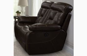 Berlin Walnut Finish Dual Power Reclining Loveseat