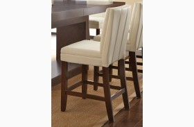 Bennett White Finish Vinyl Counter Chair Set of 2