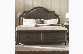 Carlsbad Dark Brown Upholstered Storage Bed