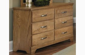Sterling Clear Oak Finish 6 Drawer Double Dresser