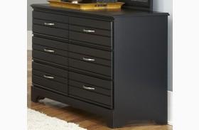 Platinum Black Finish 6 Drawer Double Dresser