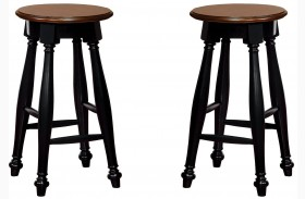 Sabrina Cherry & Black Finish Counter Height Stool Set Of 2