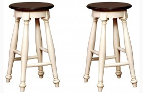 Sabrina Cherry & White Finish Counter Height Stool Set Of 2
