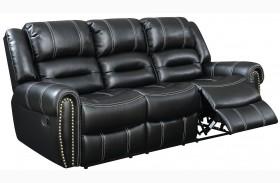 Frederick Black Finish Reclining Sofa