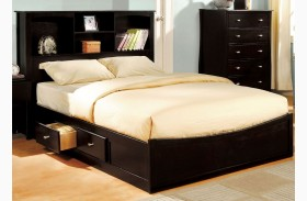 Brooklyn Espresso Bookcase Platform Bed