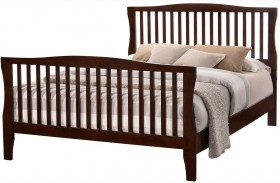 Riggins Brown Cherry Finish Panel Bed