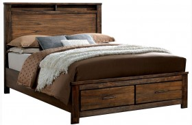 Elkton Oak Finish Platform Storage Bed
