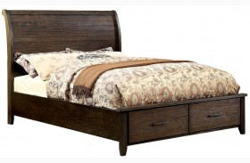 Ribeira Dark Walnut Finish Storage Bed