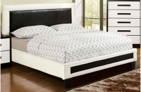 Robles White and Black Finish Upholstered Platform Bed