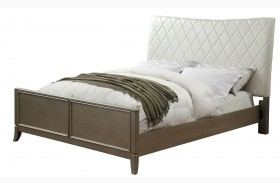 Enid Silver Finish Upholstered Panel Bed