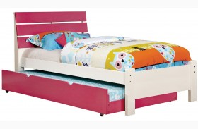 Kimmel Pink And White Finish Platform Bed